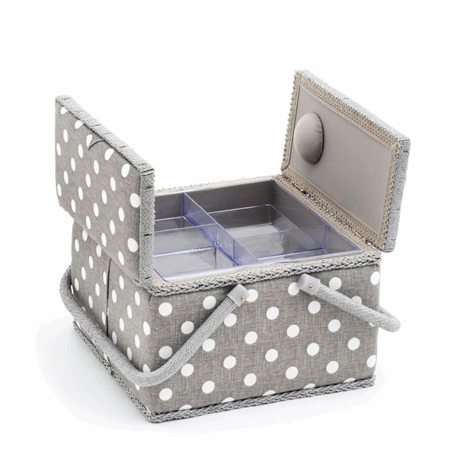 Large Grey Polka Dot,Twin Lid Sewing Storage Box