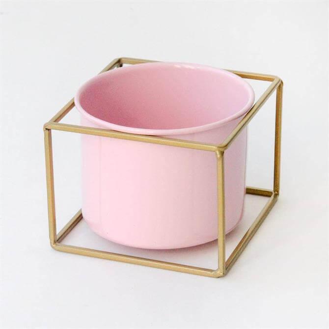 Caroline Gardner Pale Pink Frame Plant Pot