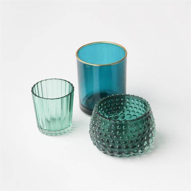 Caroline Gardner Green Glass Tealight Holder Set