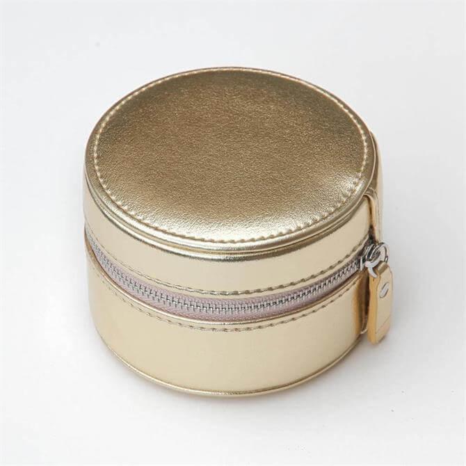Caroline Gardner Gold Round Travel Jewellery Box