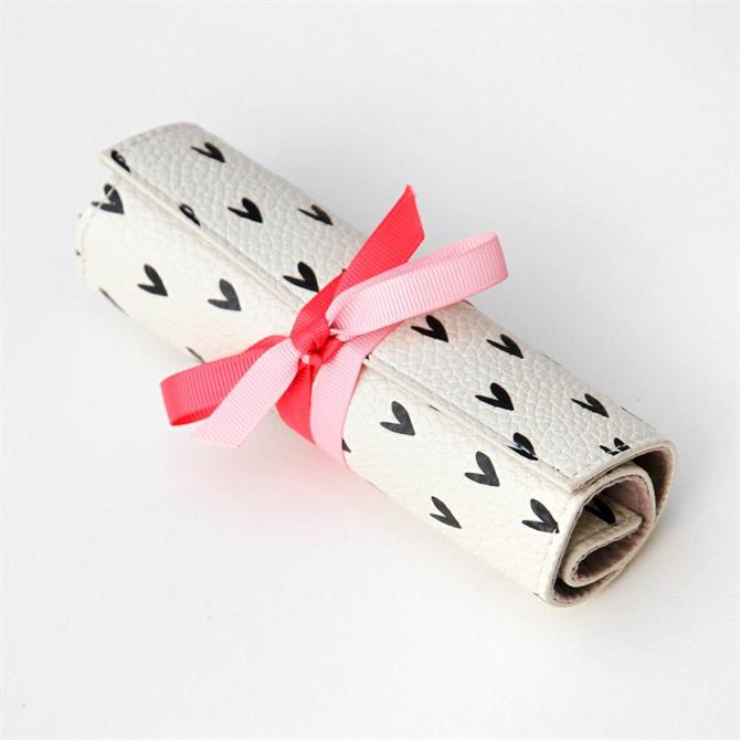 Caroline Gardner Hearts Mini Travel Jewellery Roll