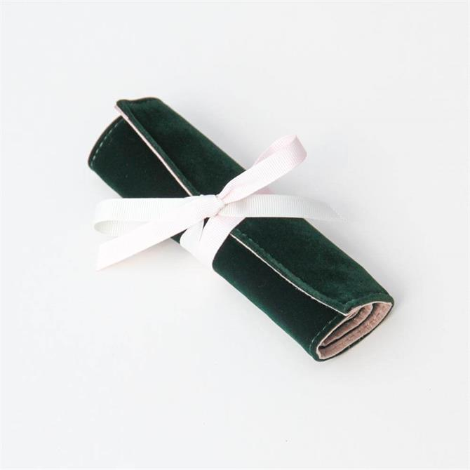 Caroline Gardner Dark Green Velvet Mini Travel Jewellery Roll