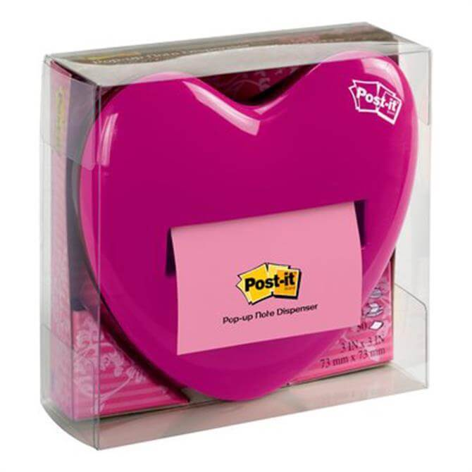 3M Post-it Pop-up Notes Dispenser Pink Heart Shape