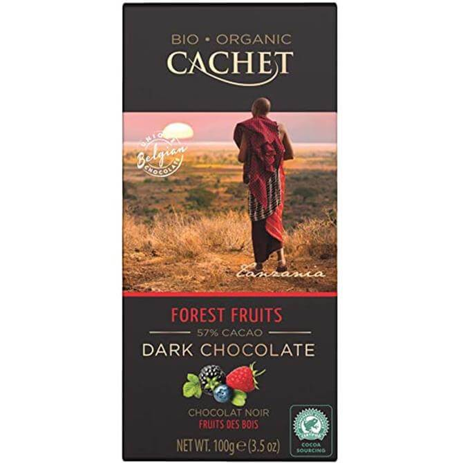 Cachet Organic 57% Dark Chocolate Bar with Forest Fruits