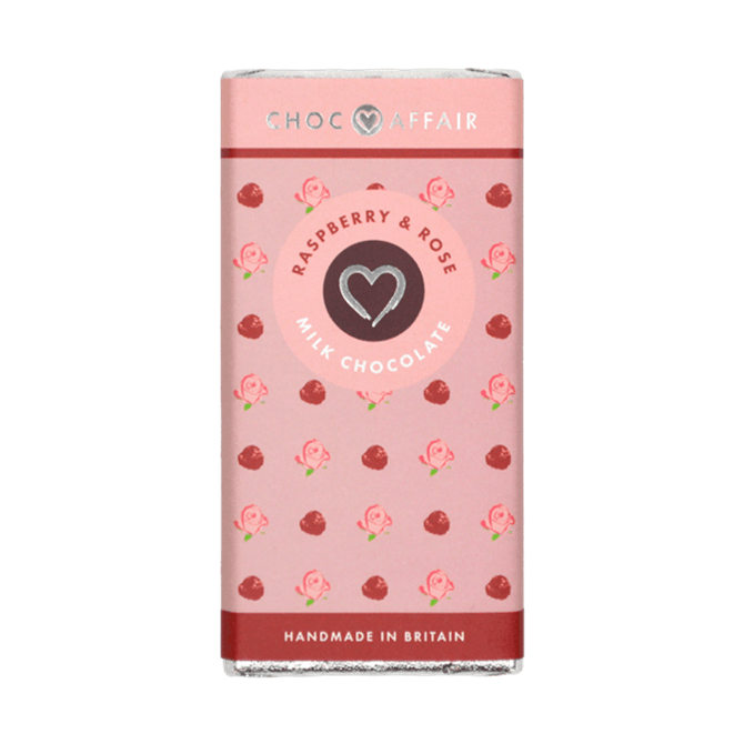 Choc Affair Raspberry & Rose Milk Chocolate Bar