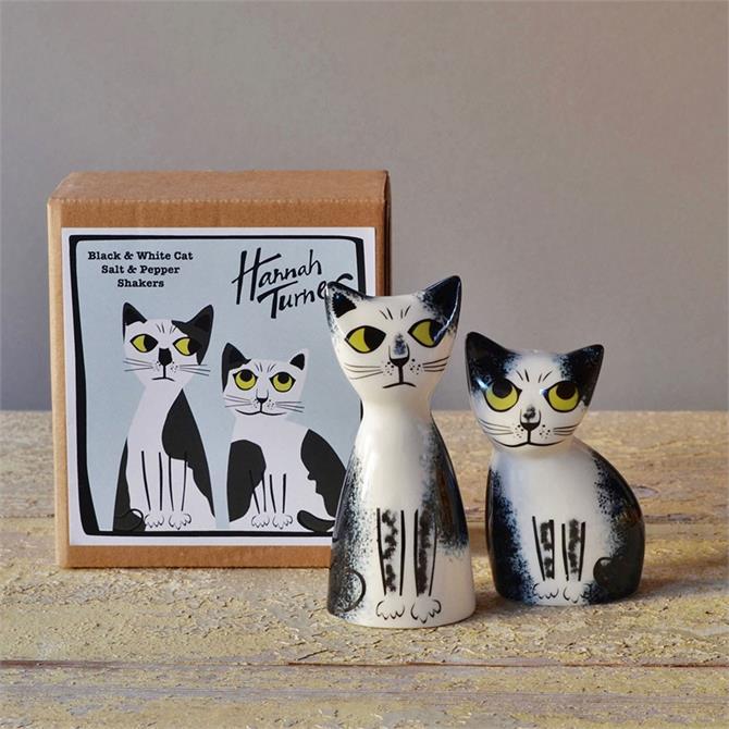 Hannah Turner Salt and Pepper Shaker - Black and White Cat