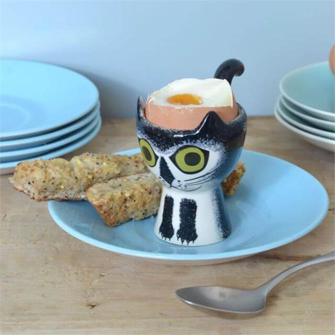 Hannah Turner Egg Cup - Black and White Cat