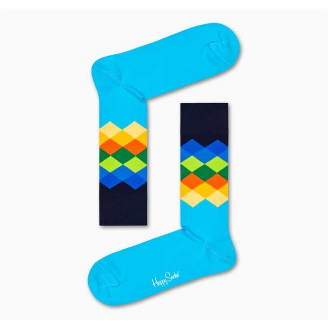 HappySocks Faded Diamond Pattern Socks - Blue