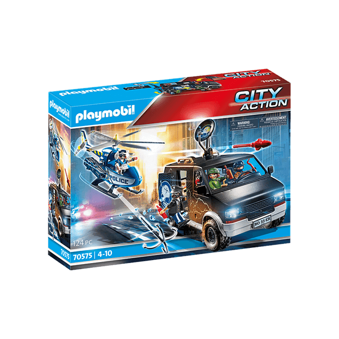 Playmobil Police Helicopter Runaway Van Playset