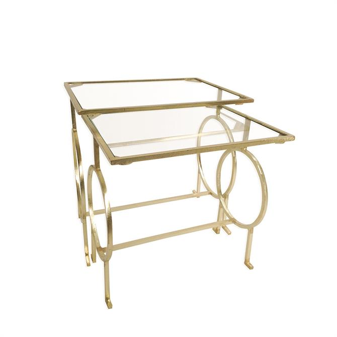 Pimlico Set of Two Tables in a Brass Finish