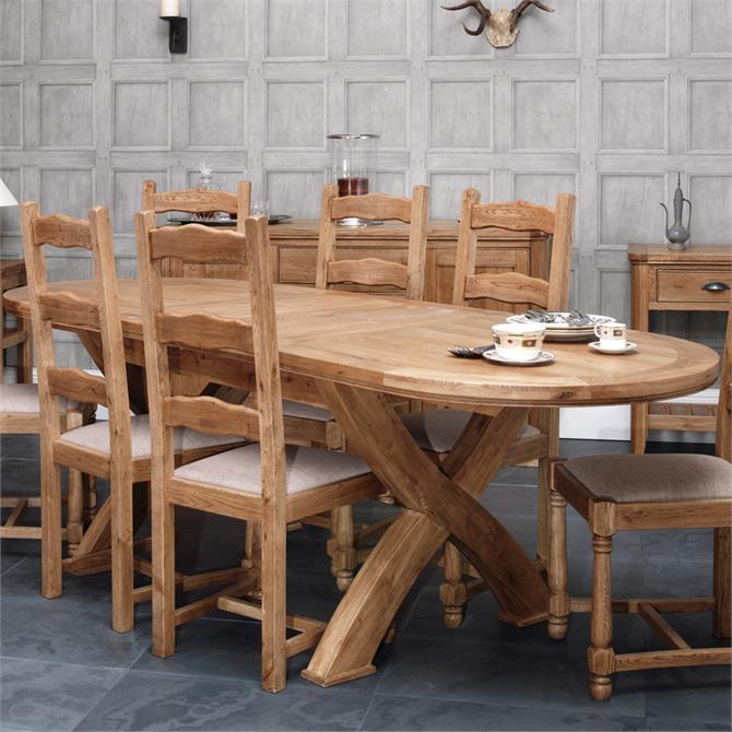 Beaumont Crossleg Extending Oval Dining Table