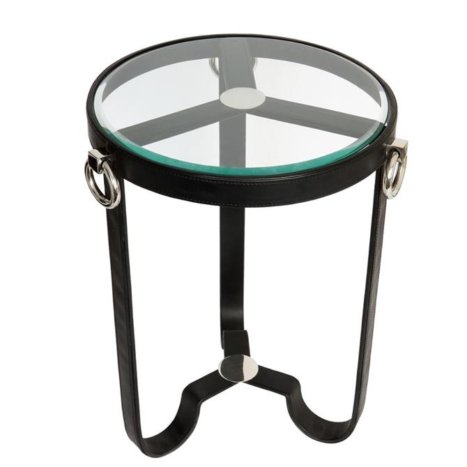Black Leather Round Side Table