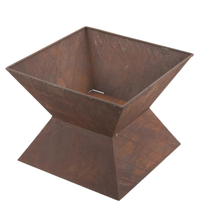 Rustic Square Fire Pit and Base (End of Season Price Reduction)