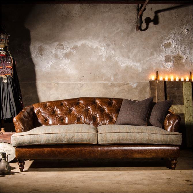 Tetrad Dalmore Petit Sofa in Option B Harris Tweed & Leather
