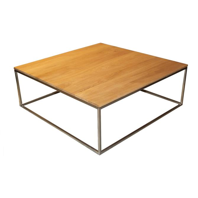 Thin Square Coffee Table in Oak