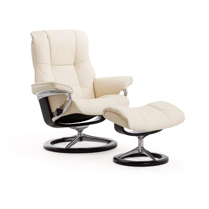Stressless Mayfair Medium Recliner And Foot Stool In Paloma Beige