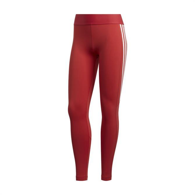 Adidas Alphaskin 3 Stripes Women's Long Leggings - Red