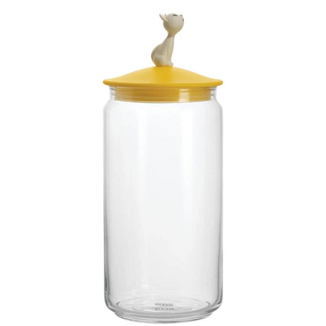 Alessi Mio Glass Cat Food Jar Yellow