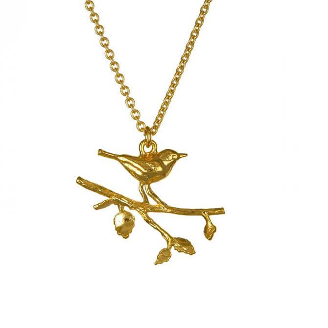 Alex Monroe Perched Warbler Bird Necklace