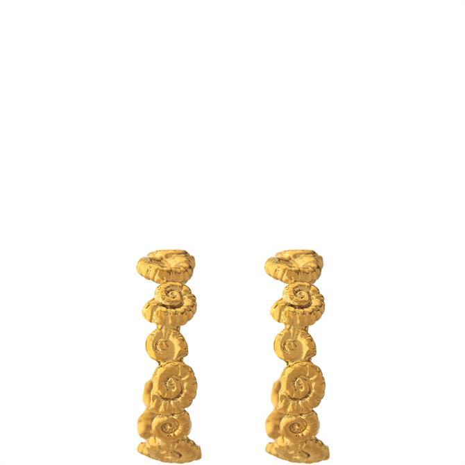 Alex Monroe Ammonite Wreath Gold Hoop Earrings