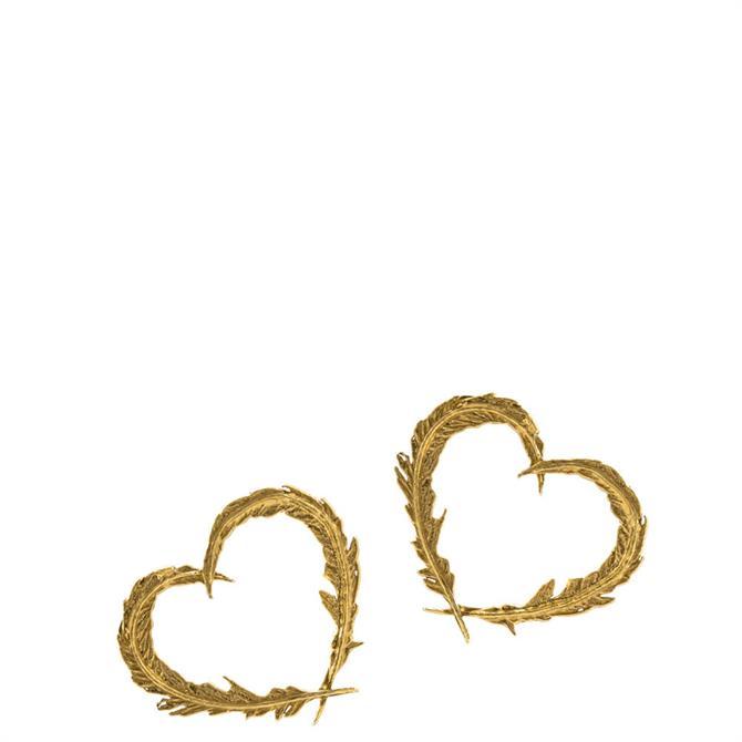 Alex Monroe Delicate Feather Gold Heart Stud Earrings