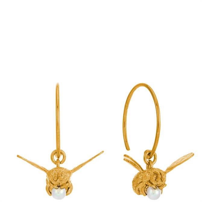 Alex Monroe Flying Bee with Pearl Hoop Earrings