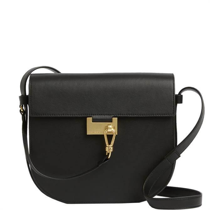 AllSaints Nicolette Black Leather Shoulder Bag