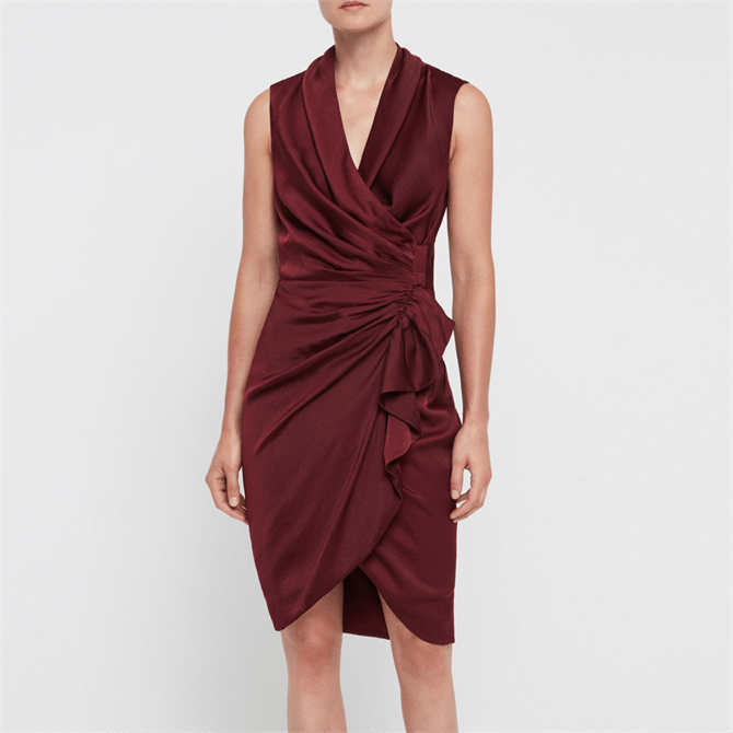 AllSaints Cancity Oxlood Red Dress