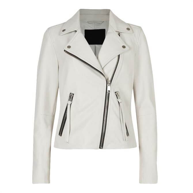 AllSaints Dalby White Leather Biker Jacket