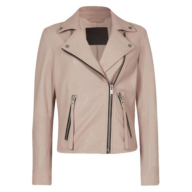 AllSaints Dalby Leather Rose Water Pink Biker Jacket