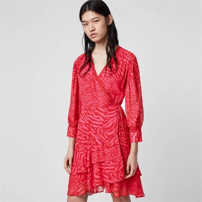 AllSaints Keva Animal Wrap Dress