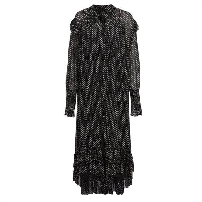 AllSaints Lara Dot Ruffle Dress
