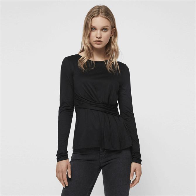 AllSaints Limera Wrap & Pleat Detail T-Shirt