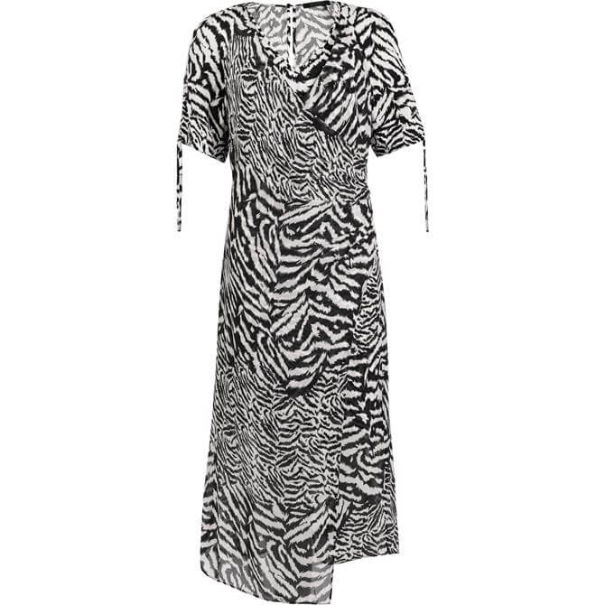 AllSaints Carla Remix Animal Print Midi Dress