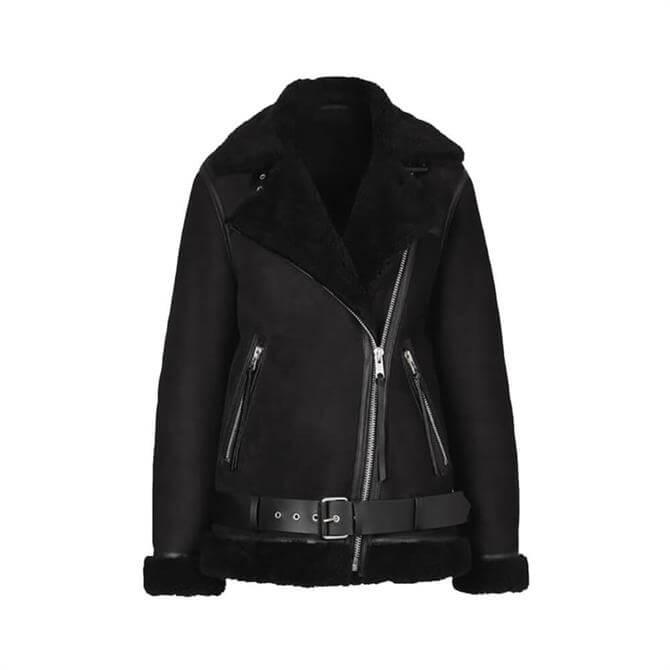 AllSaints Black Leather Shearling Biker Jacket