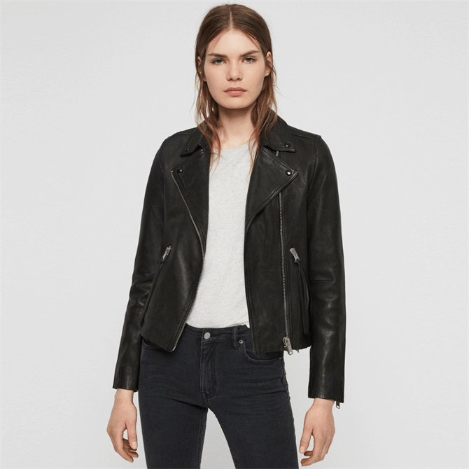 AllSaints Dalby Black Leather Biker Jacket