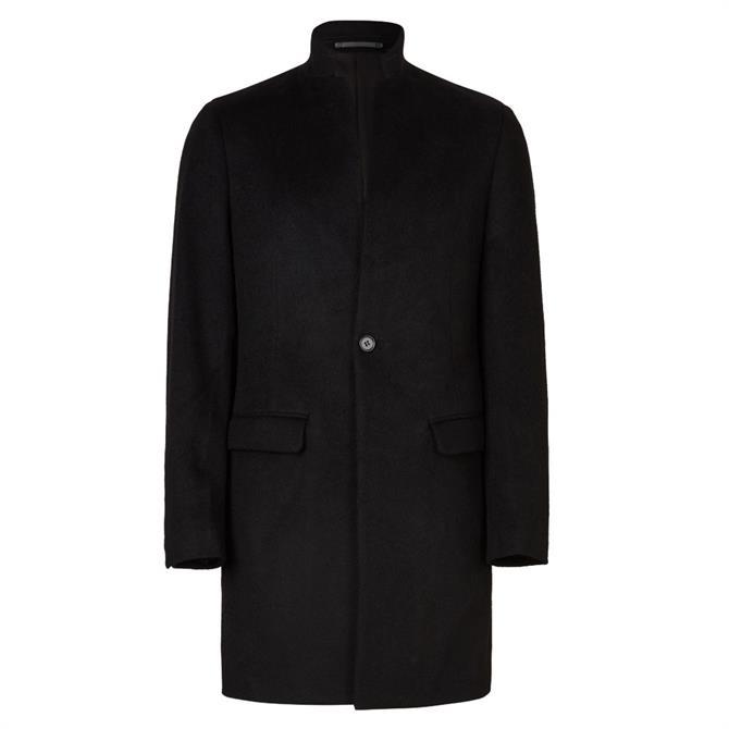 AllSaints Manor Black Pure Wool Coat