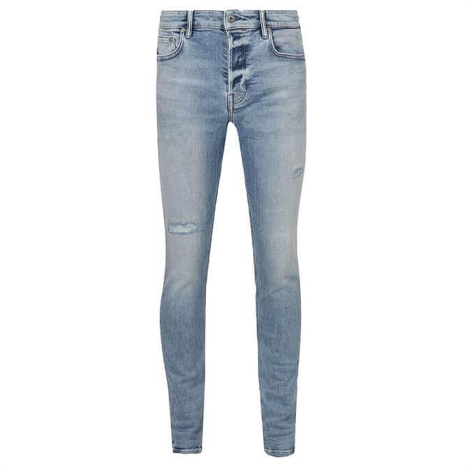 AllSaints Cigarette Damaged Light Indigo Skinny Fit Jeans