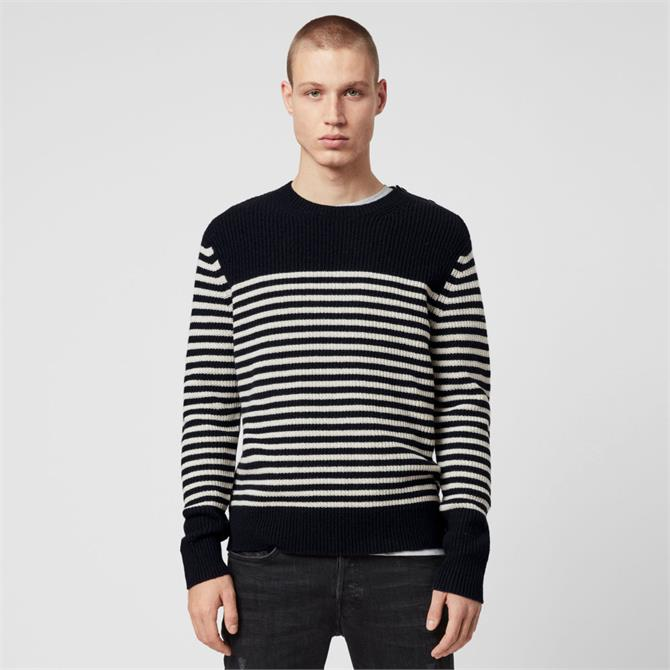AllSaints Carnon Striped Crew Jumper