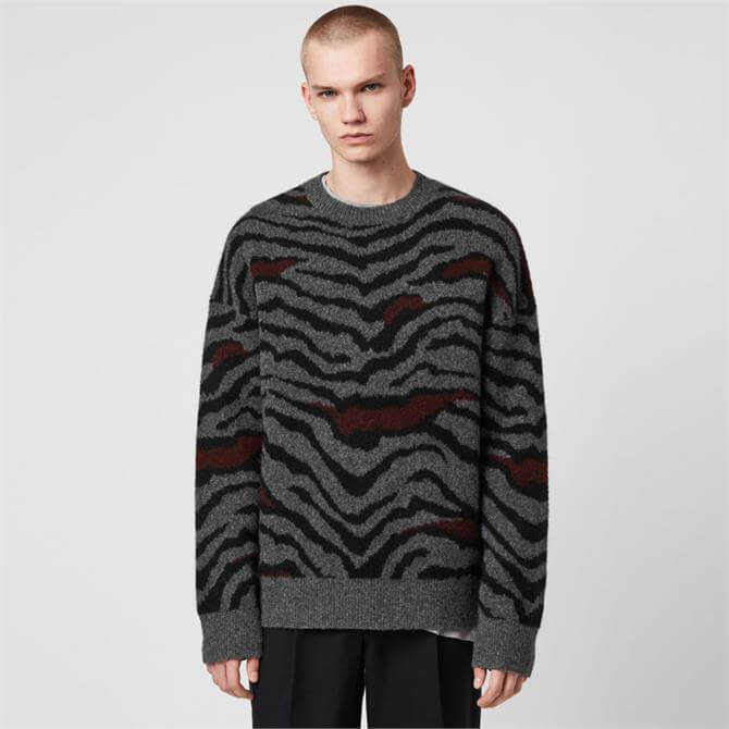 AllSaints Tora Animal Print Crew Sweater