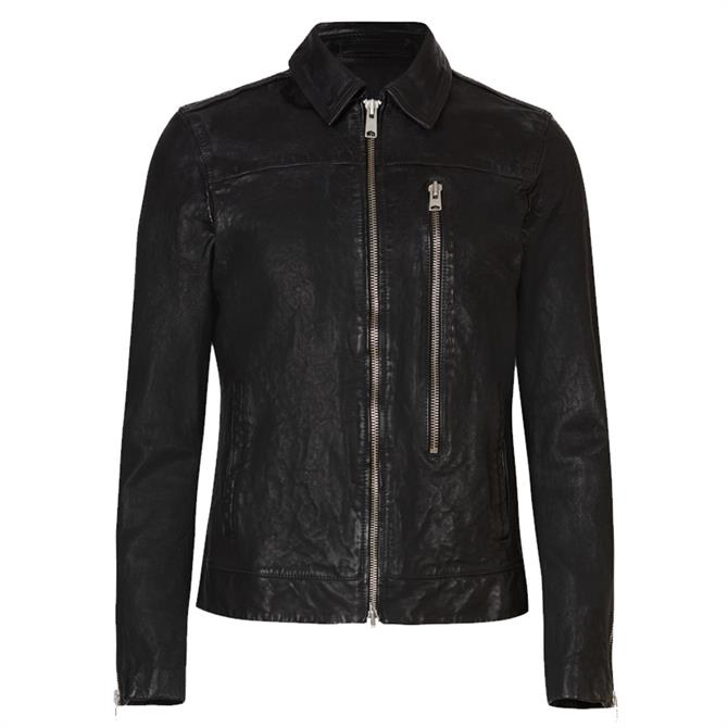 AllSaints Swithin Black Leather Jacket