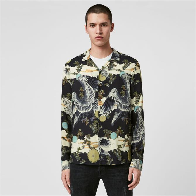 AllSaints Descent Oriental Print Long Sleeve Shirt
