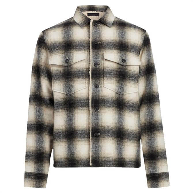AllSaints Lewes Checked Print Wool Blend Shirt