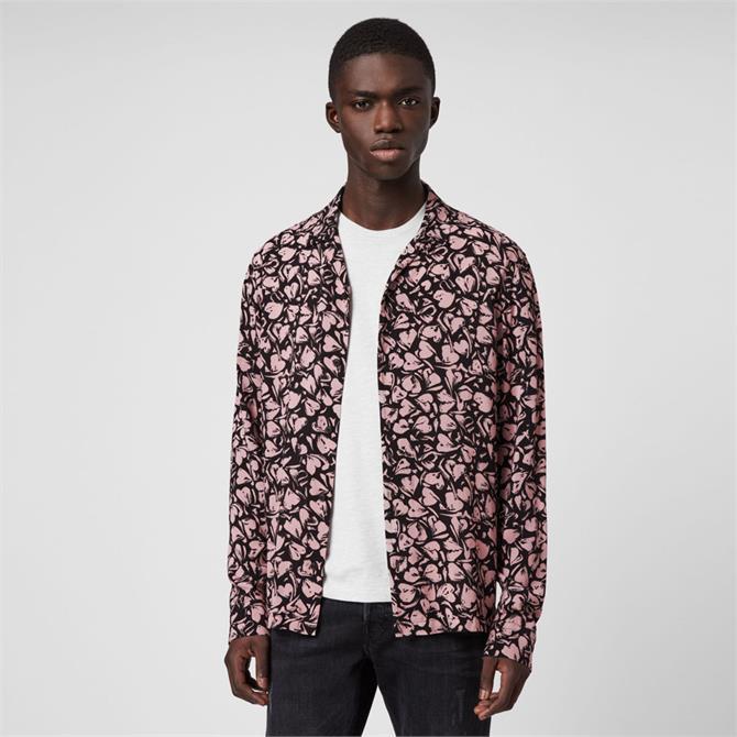 AllSaints Heartbreak Print Long Sleeve Shirt
