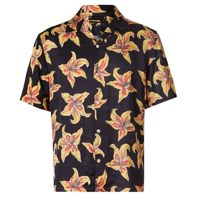 AllSaints Hibiscus Print Short Sleeved Shirt