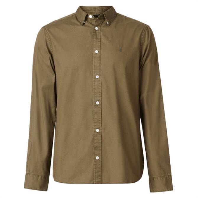 AllSaints Hawthorne Green Slim Fit Shirt