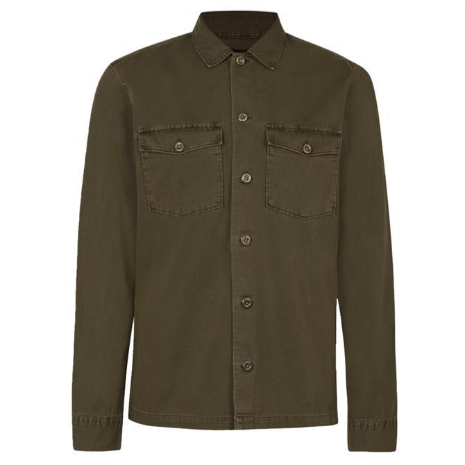 AllSaints Spotter Khaki Green Overshirt