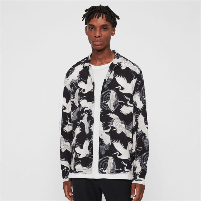 AllSaints Tsuru Long Sleeve Graphic Shirt