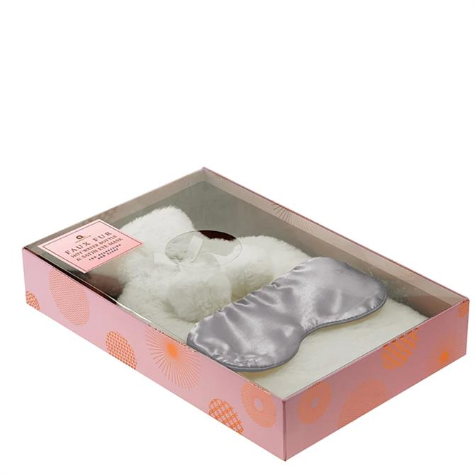 Aroma Home Cream Faux Fur Hot Water Bottle and Eye Mask Set