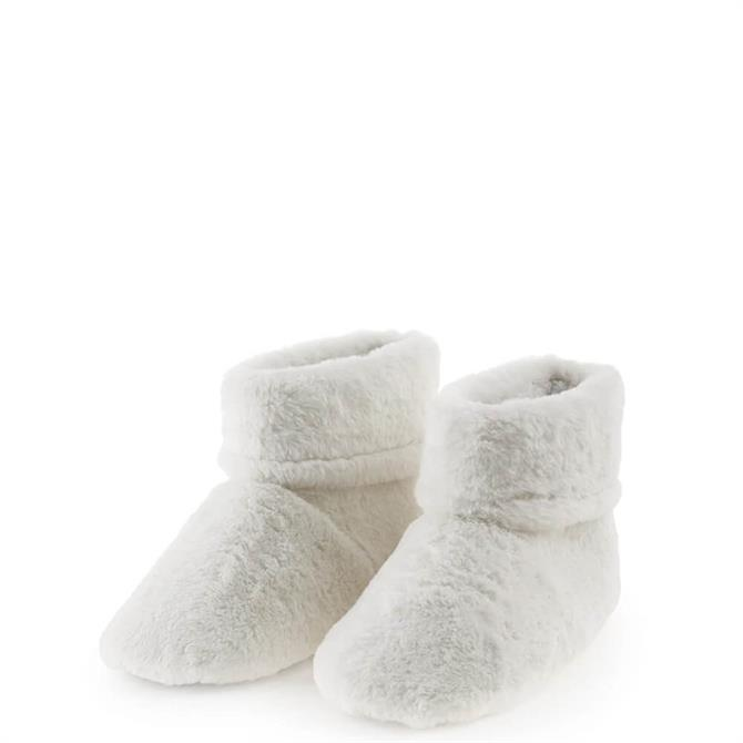 Aroma Home Microwavable Faux Fur Cream Slipper Boots